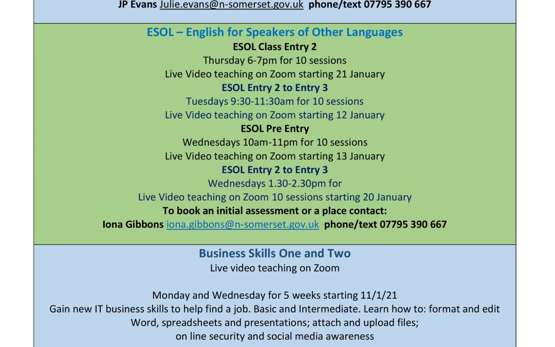 Community Learning Courses Newsletter 19 January 2021