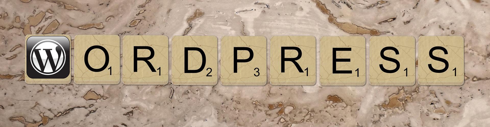 WordPress spelt in letter tiles