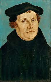 Cranach Ältere: Luther / Portrait / Cranach th.E./ 1529. Art Print, Glass  Print
