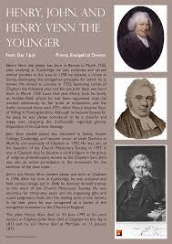 Henry, John, and Henry Venn the younger (priests & evangelical  divines). Feast day - 1 July.   Evangelism, Priest, Photo