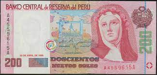 World Banknotes & Coins Pictures | Old Money, Foreign Currency Notes, World  Paper Money Museum: Peru 200 Nuevos Soles banknote 1995 Saint Rose of Lima